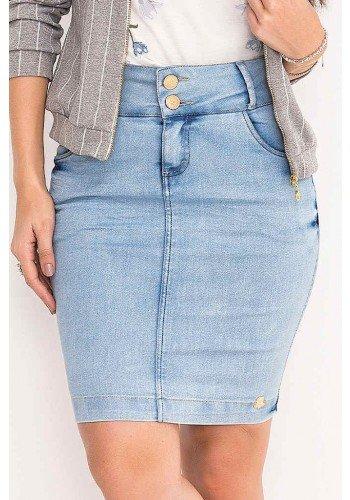 saia jeans clara lavagem especial laura rosa frente baixo
