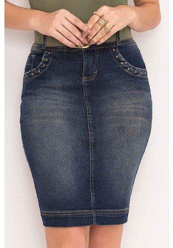 saia jeans com cinto e pespontos laura rosa frente baixo