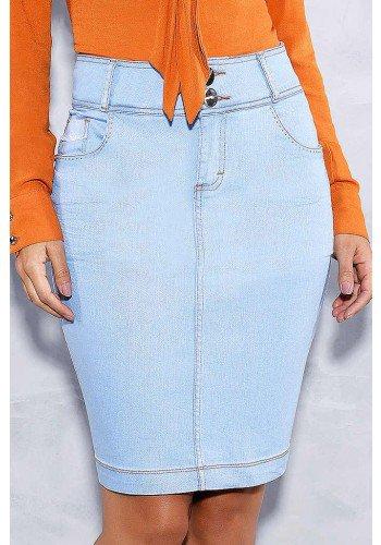 saia clara desfiados nos bolsos titanium jeans frente baixo