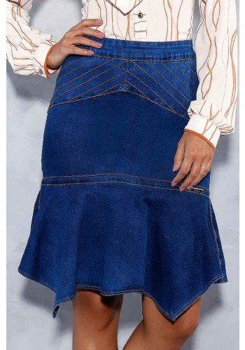 saia sino recortes com costuras pespontadas titanium jeans frente baixo