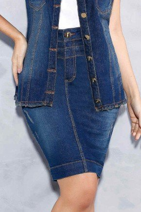 saia jeans cos triplo com puidos titanium jeans frente