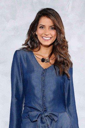 camisa feminina manga longa detalhe amarracao titanium jeans frente
