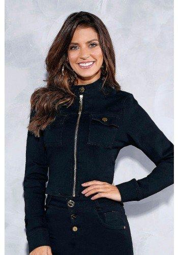 casaqueto preto ziper frontal titanium jeans frente cima