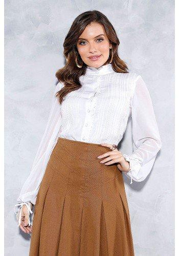 camisa feminina detalhes pregas e guippir titanium jeans frente cima