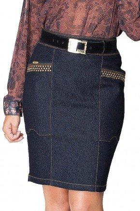 saia jeans escuro com bordados dyork frente baixo