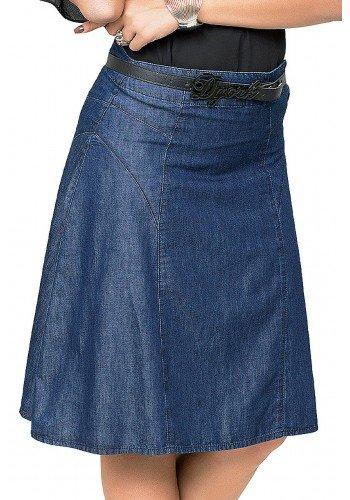 saia evase azul escuro recortes laterais dyork jeans frente baixo