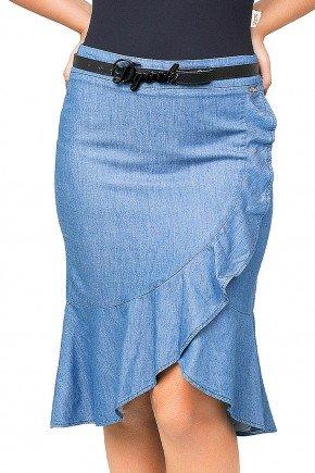 saia azul barrado assimetrico com babados dyork jeans frente baixo