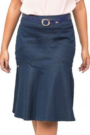 saia azul classica com recortes e bolsos dyork frente baixo