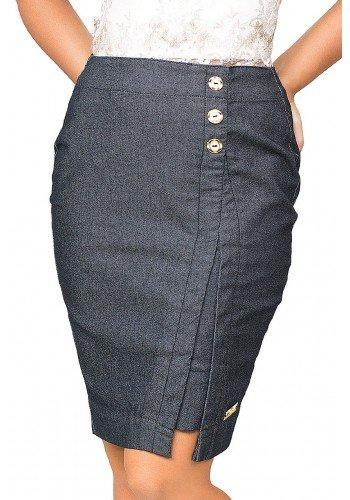 saia jeans fenda frontal com botoes dyork frente baixo