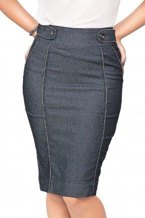 saia jeans linhas claras contrastantes dyork frente baixo