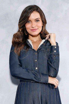 camisa feminina jeans felpuda por dentro titanium frente cima