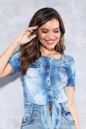 blusa jeans tiedye com amarracao titanium frente