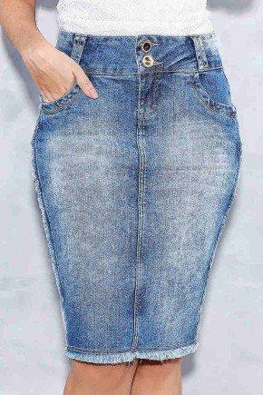 saia jeans recortes laterais com desfiados titanium frente baixo