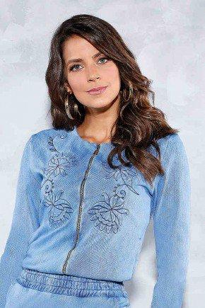 blusa cropped bordada ziper frontal titanium jeans frente cima