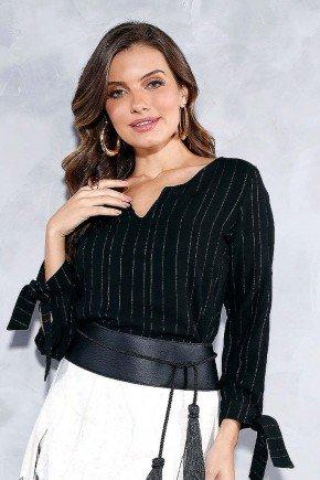 blusa preta fios em lurex com mangas longas titanium jeans frente