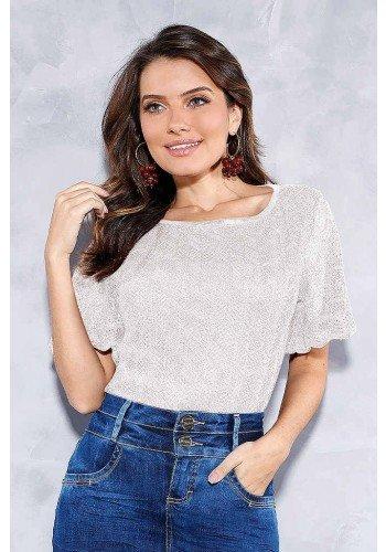 blusa off white em renda titanium jeans frente cima
