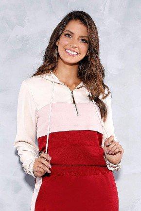 blusa tricolor com bolso e capuz titanium jeans frente