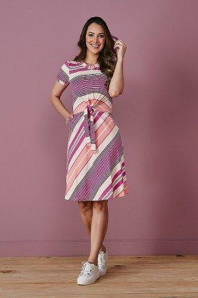 vestido pink estampado detalhe amarracao tata martello frente