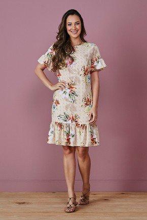 vestido floral bege com babados tata martello frente