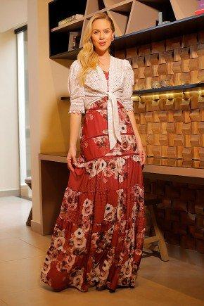 vestido longo estampado com bolero em lesie fasciniu s frente