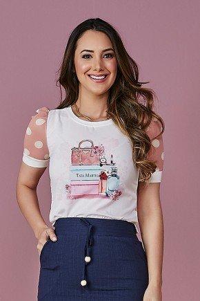 blusa estampa exclusiva mangas em tule tata martello