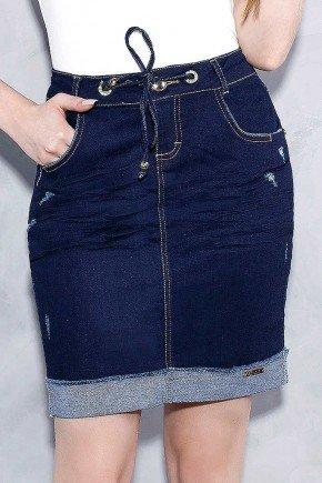 saia jeans teen barra dobrada amarracao no cos titanium frente baixo