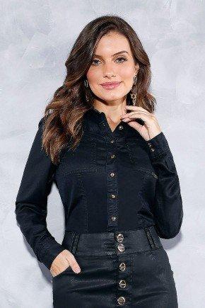 camisa feminina preta resinada titanium jeans frente