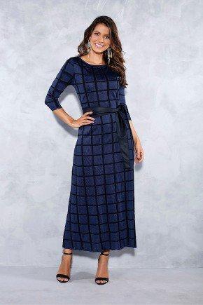 vestido marinho xadrez preto titanium jeans frente