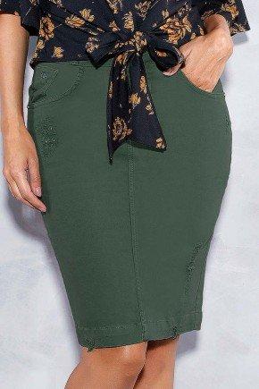 saia verde militar reta com puidos titanium jeans frente baixo
