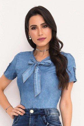 blusa azul jeans gola laco laura rosa frente