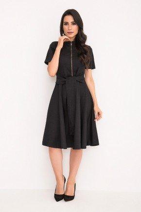 vestido preto gode com ziper e amarracao laura rosa frente