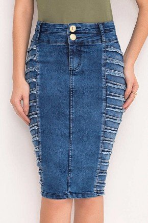 saia jeans recortes laterais com pregas e desfiados laura rosa frente baixo