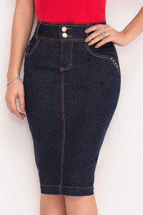 saia jeans marinho pespontos dourados laura rosa frente baixo