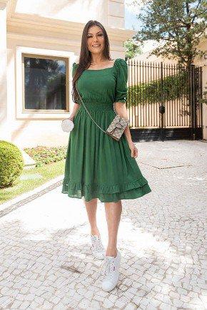 vestido gode verde com babados bianca jany pim frente