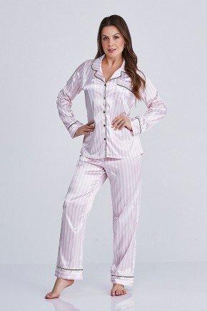 conjunto pijama longo listras rosa claro nicole cloa frente