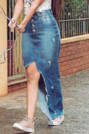 saia longa jeans detalhes destroyed nitido frente baixo