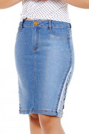 saia jeans recorte lateral desfiada dyork frente