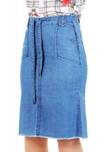saia jeans barra desfiada com amarracao dyork frente