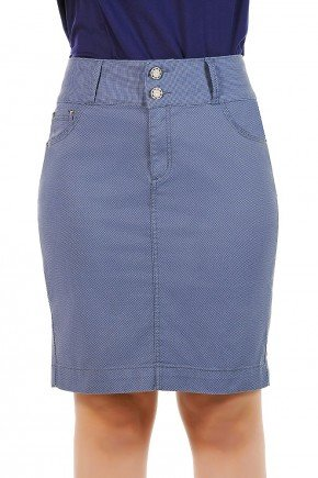 saia secretaria estampada azul dyrok jeans frente