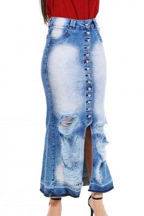 saia longa jeans mullet desfiados e botoes frontais dyork frente