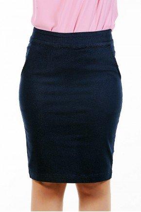 saia secretaria azul marinho bolso faca dyork jeans frente