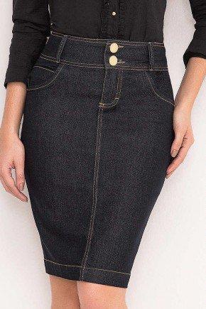 saia jeans tradicional azul marinho laura rosa frente baixo