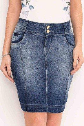 saia jeans recortes laterais laura rosa frente baixo