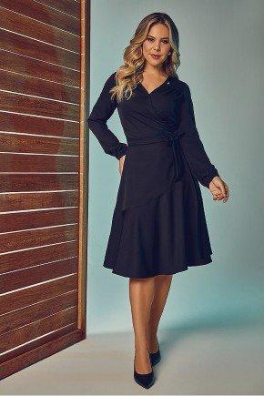 vestido preto transpassado mangas longas via tolentino frente
