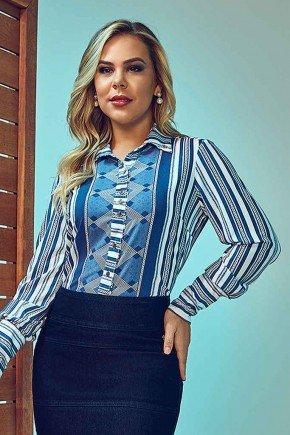 camisa feminina estampada mangas longas via tolentino frente