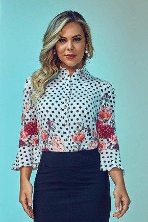 camisa de poa com barrado floral via tolentino frente