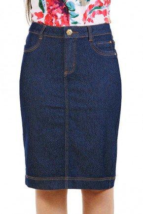 saia jeans classica azul escuro dyork jeans frente