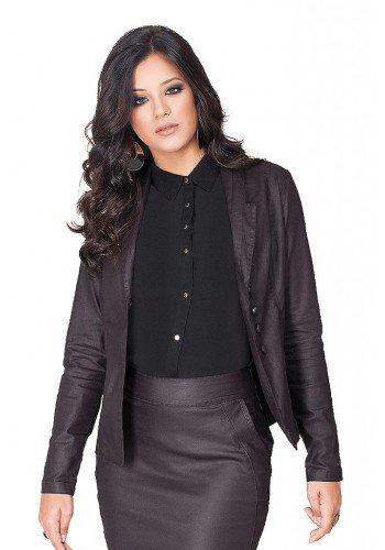 blazer feminino vinho resinado dyork jeans frente cima