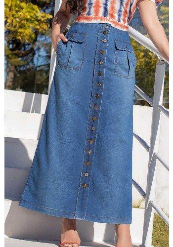 saia longa abotoamento frontal com bolsos tyfani raje jeans frente baixo