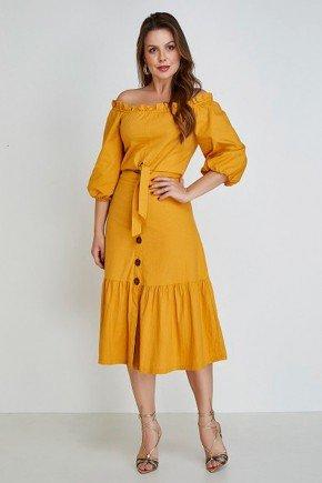 vestido mostarda ciganinha com amarracao elisie cloa frente